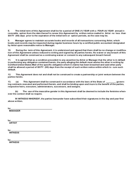 artist contract template artist management contract template free