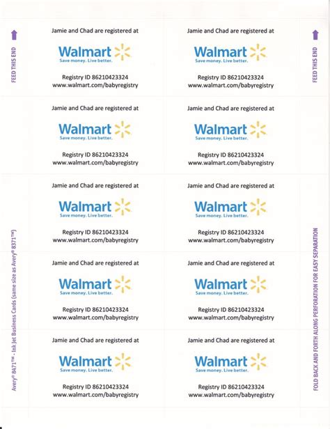 walmart baby shower registry business card templates card templates and microsoft on