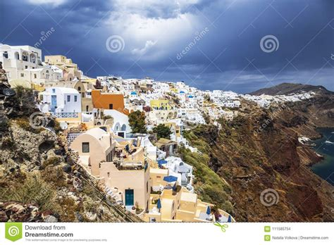 View Of The City Of Oia On The Island Of Santorini Stock