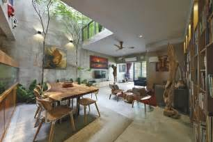 home design flooring trees and shrubs create faux courtyard inside house