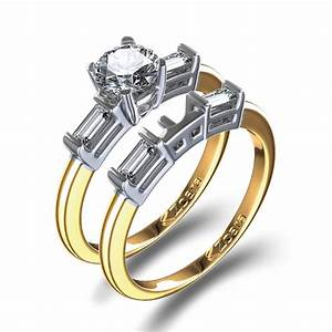 baguette accented diamond wedding set in 14k gold With baguette wedding ring sets