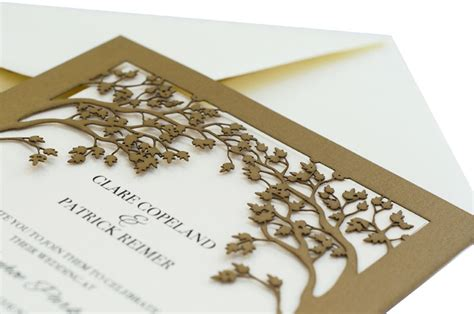 wedding place card table laser cut wedding invitations tree tree