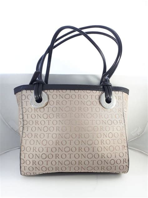 oroton beige taupe signature  medium monogram print bag