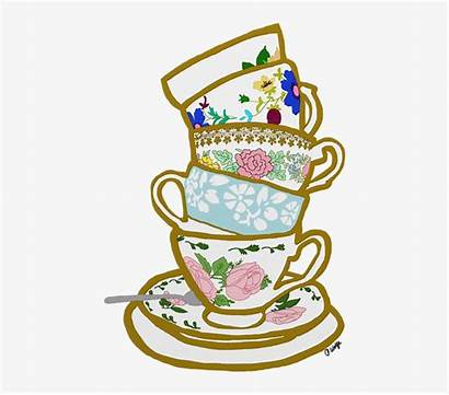 Tea Cup Clipart Stacked Drawing Teacup Cups