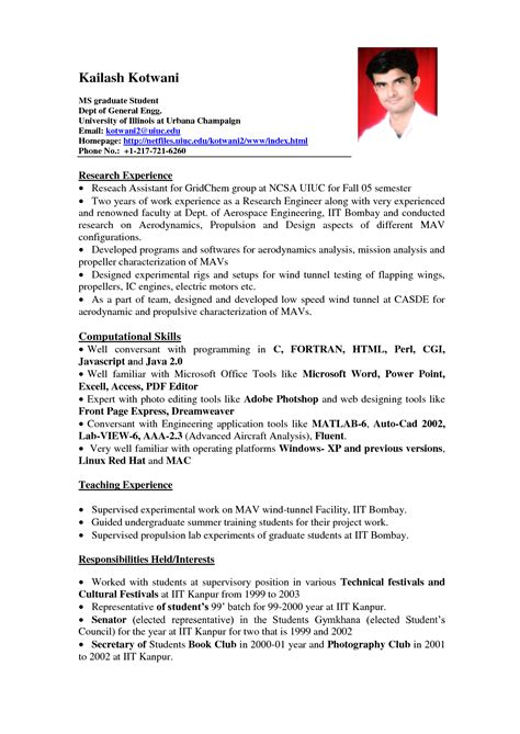 Experience Resume Template by 11 Student Resume Sles No Experience Michi