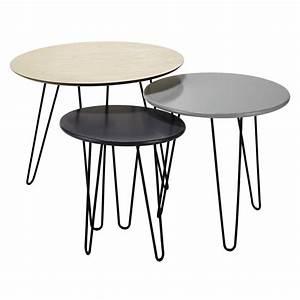 Table Gigogne Maison Du Monde : 3 tables basses gigognes d 40 cm 60 cm graphik maisons du monde ~ Teatrodelosmanantiales.com Idées de Décoration