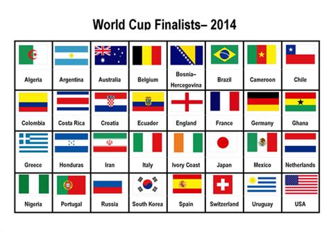 A4 Image Of Flags Of Countries In 2014 World Cup By Eric_t