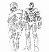 Coloring War Machine Pages Iron Drawing Avengers Colouring Captain Marvel Lego America Armor Getdrawings sketch template