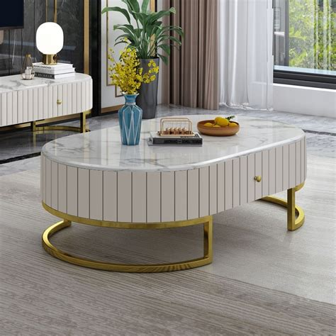 """Free shipping and no sales tax. Modern 47"""" Oval Faux Marble Coffee Table Leather Coffee Table with 2 Drawers Gold Metal Base in ..."""