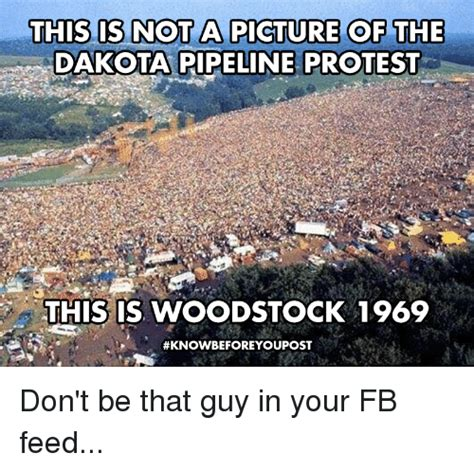 Pipeline Memes - this is not a picture of the dakota pipeline protest this is woodstock 1969 don t be that guy in