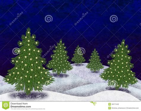 paisaje nevado con los 225 rboles de navidad stock de