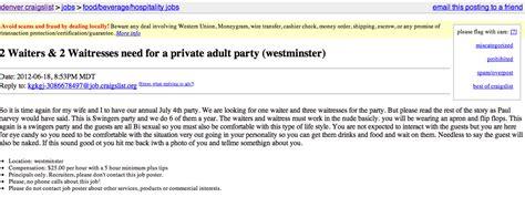 craigslist ad  host seeks waiters waitresses