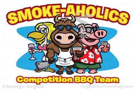 Bull, Pig & Chicken Smoke-aholics Bbq Team Cartoon Logo
