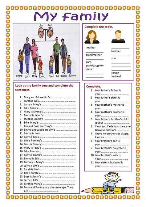 family worksheet worksheet  esl printable