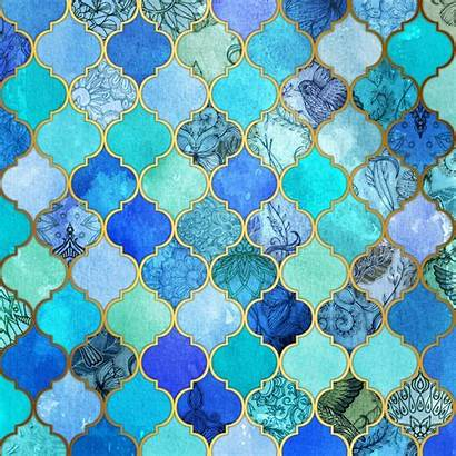 Moroccan Tile Pattern Gold Cobalt Aqua Decorative