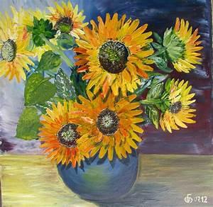 Blumen Bilder Gemalt : sonnenblume klauen flora vase blumen von elvipe bei kunstnet ~ Orissabook.com Haus und Dekorationen