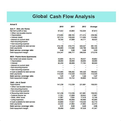 cash flow analysis template    documents