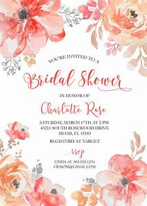 Free Online Valentines Card Watercolor Roses Bridal Shower Invitation Red Floral