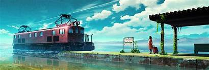Anime Triple Monitor Train Station Sky 1200