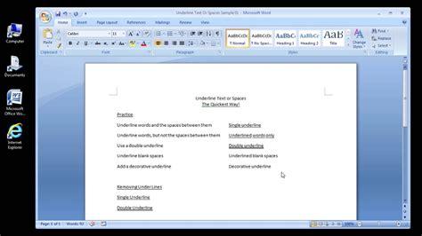 microsoft word  underline text  spaces officetutescom