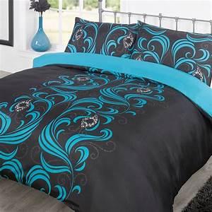 Black, And, Teal, Bedding, Sets