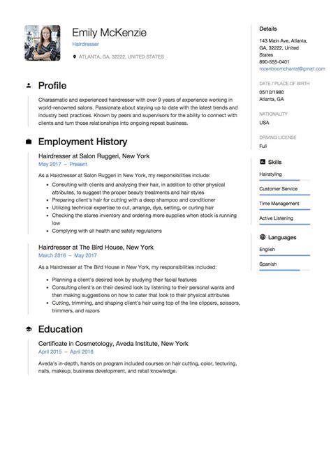 Hairdressers Resume by Hairdresser Resume Sle Exle Template Cv
