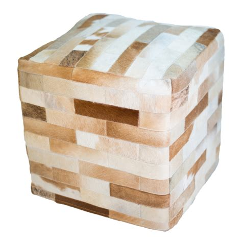 Cowhide Ottoman Cube by Cowhide Cube Ottoman Light Brown
