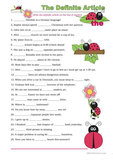 the definite article exercises worksheet free esl printable worksheets made by teachers