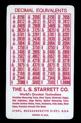 vintage starrett screw threads tap drill size chart decimal equiv pocket card whats  worth