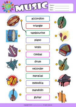 Living Room Dictionary by Musical Instruments Esl Printable Worksheets For Kids 1