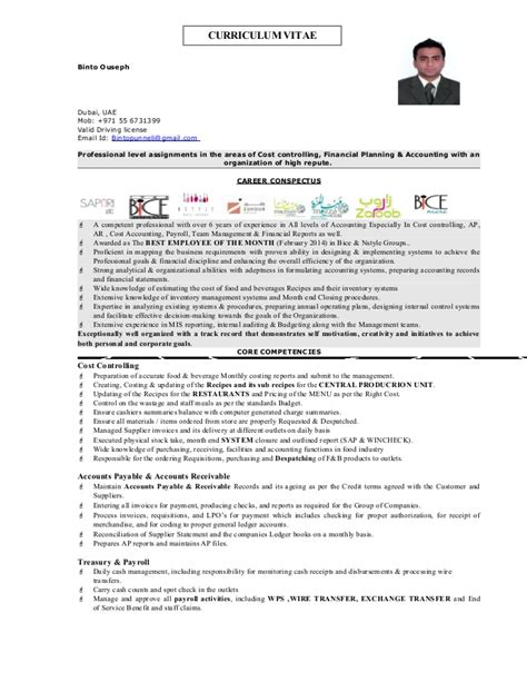 Cost Controller Resume by Cost Controller Resume Binto Ouseph