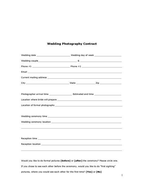 wedding contract template   templates   word