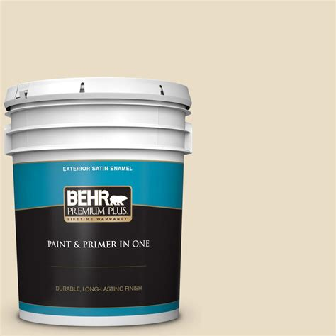 behr premium plus 5 gal 22 navajo white satin enamel exterior paint and primer in one 905005