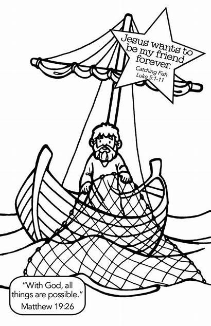 Fish Jesus Coloring Pages Crafts Bible Luke