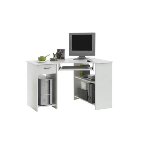 bureau blanc d angle felix bureau d 39 angle 77 cm blanc achat vente bureau