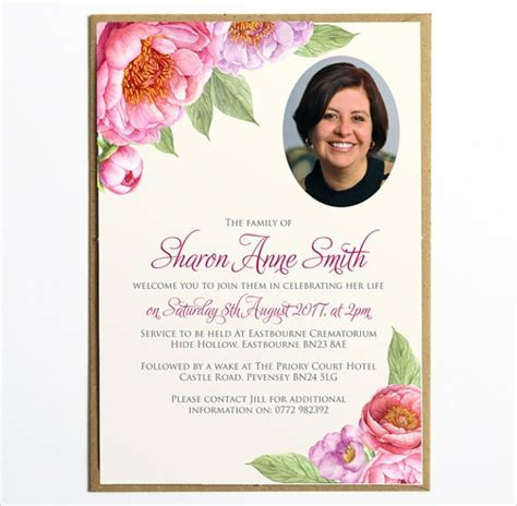 sample funeral invitation templates  ms word psd