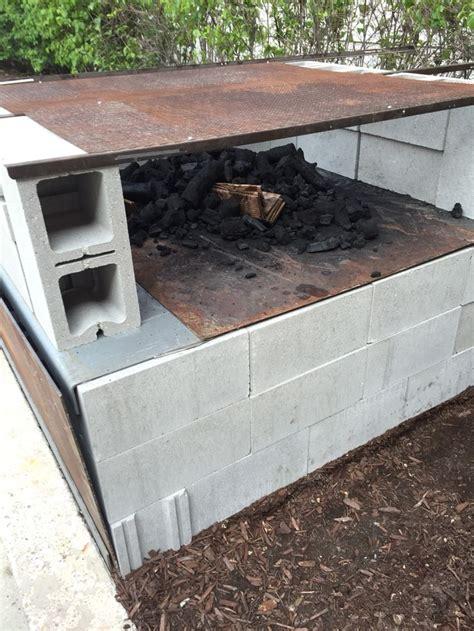 concrete block caja china  grill  top outdoor