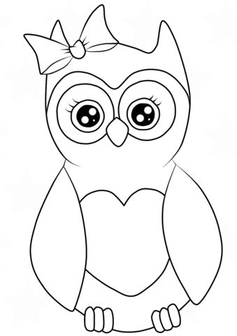 cutest cartoon owl coloring page  printable coloring pages