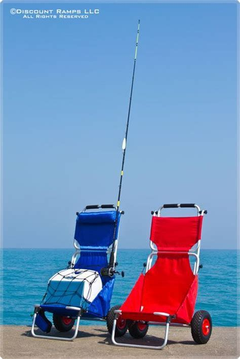 blue folding beach chair fishing cooler dolly wagon cart