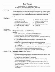 bartender resume examples free to try today With bartender resume