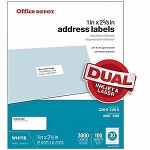 office depot brand white inkjetlaser address labels 1 x 2 With office depot address label template