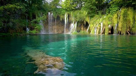 Beautiful Waterfall Cascade Scenery Of Plitvice Lakes