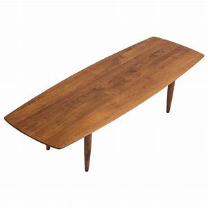 solid walnut surfboard coffee table by prelude at 1stdibs With solid walnut wood coffee table