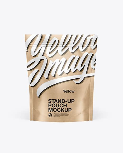 Kraft paper made zippy stand up pouch mockup with deep blue background. Kraft Paper Stand Up Pouch Mockup - Download PSD Mockups ...