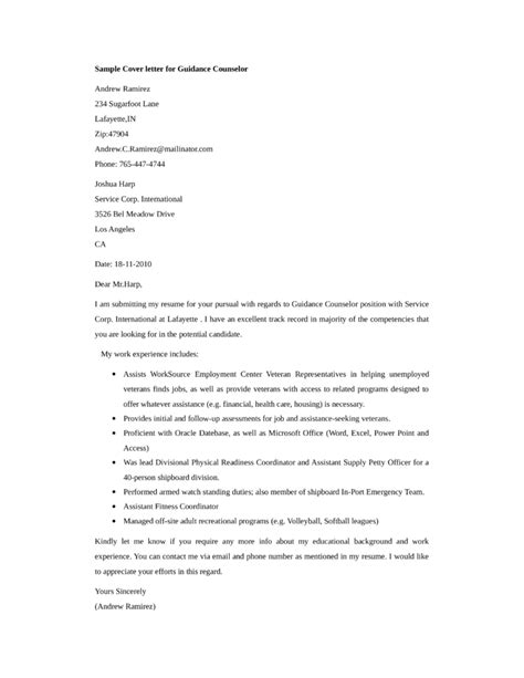 Guidance Counselor Resume Cover Letter by Basic Guidance Counselor Cover Letter Sles And Templates