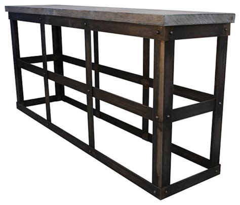 industrial metal console table modern industrial reclaimed wood and rustic metal console