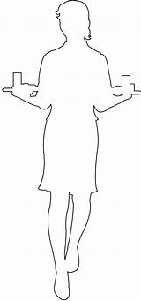 Waitress Silhouette Outline Coloring Pages Silhouettes Svg sketch template