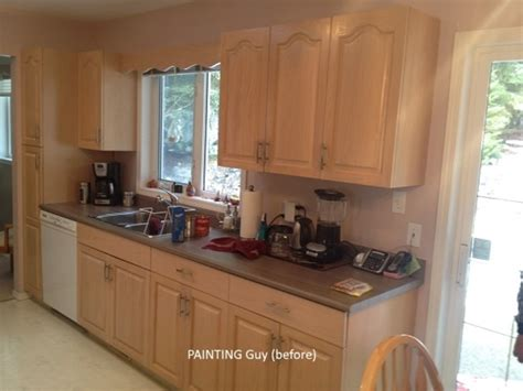 painting oak kitchen cabinets before and after painting oak cabinets painting guys 9707