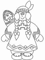 Coloring Native Pages Thanksgiving American Indian Americans sketch template