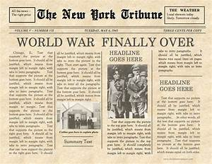 old fashioned newspaper template free - vintage front page newspaper template instant download for